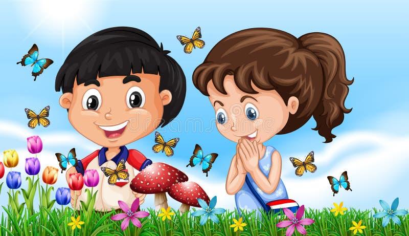 Pojke och flicka i trädgården mycket av fjärilar vektor illustrationer