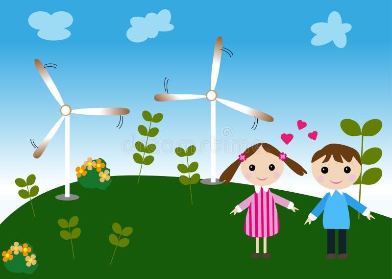 Pojke och flicka med den naturliga väderkvarnen vektor illustrationer