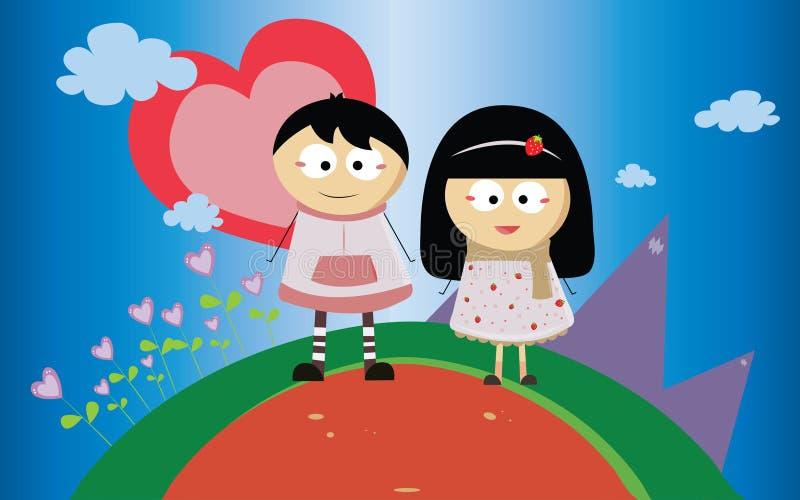 Pojke och flicka med första förälskelse royaltyfri illustrationer