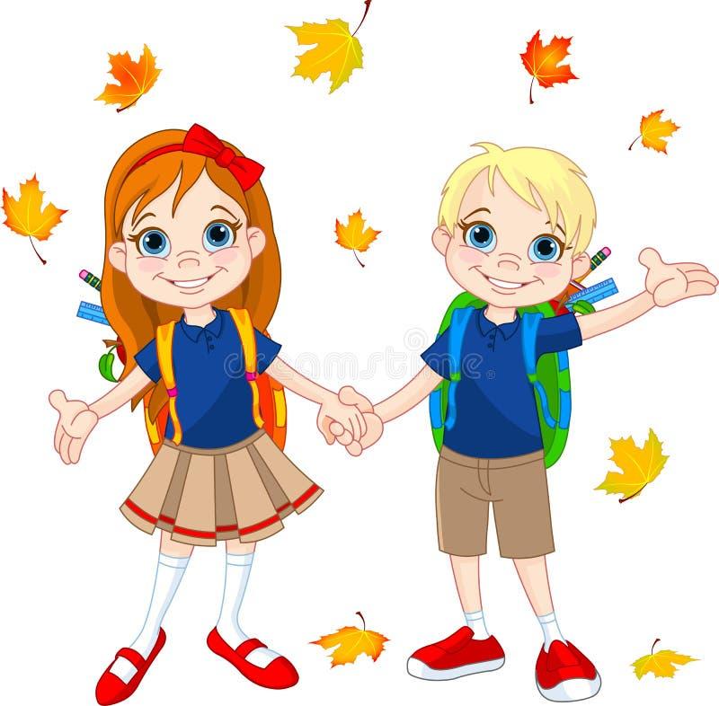 Pojke och flicka som är klara till skolan stock illustrationer