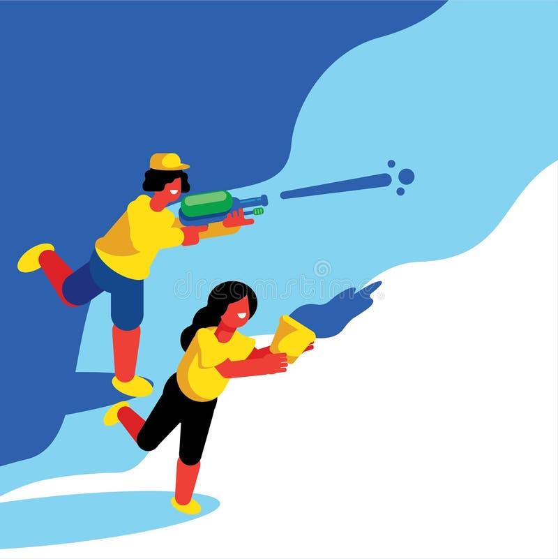 Pojke och flicka som blöter i den Songkran festivalen stock illustrationer