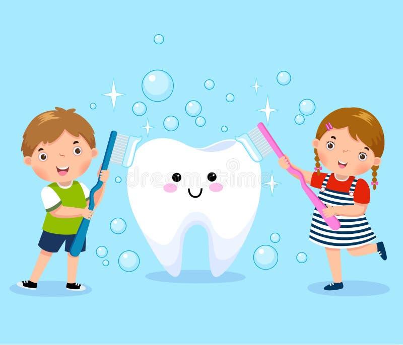 Pojke och flicka som borstar den vita tanden royaltyfri illustrationer