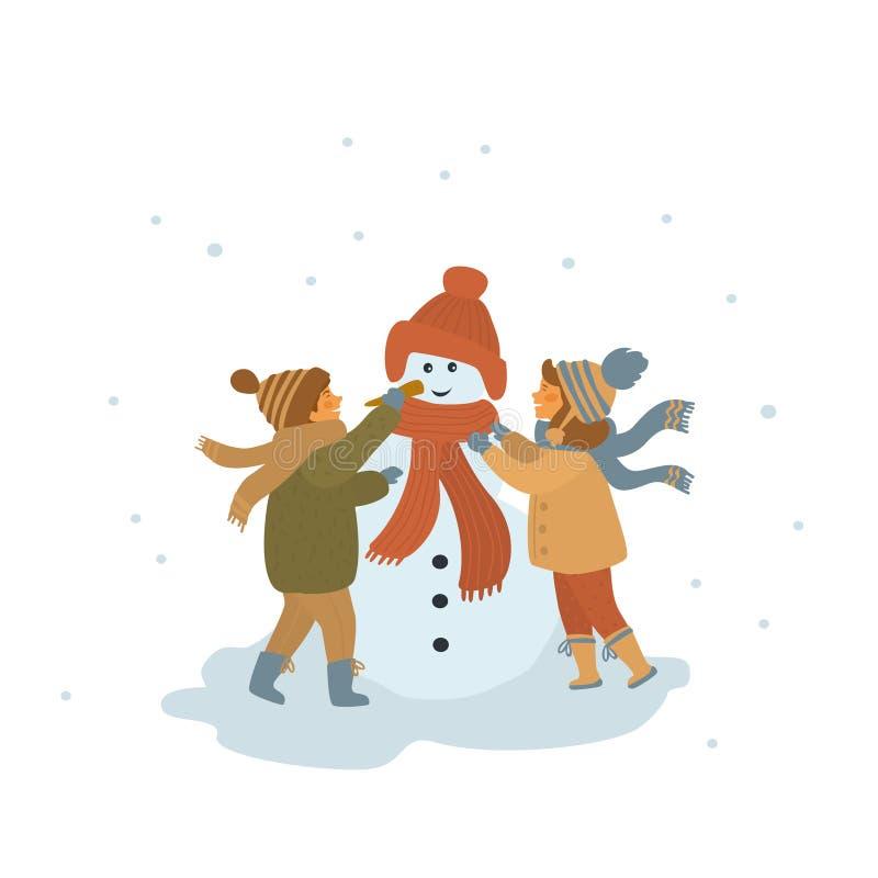 Pojke och flicka som gör en snögubbe isolerad tecknad filmvektorillustration royaltyfri illustrationer