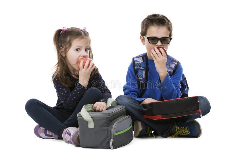 Pojke och flicka som har en lunch royaltyfri bild