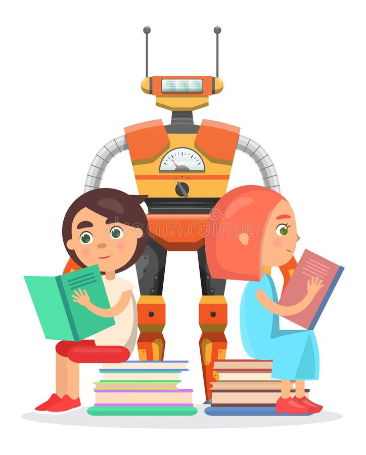 Pojke och flicka som läs med den stora robotillustrationen vektor illustrationer