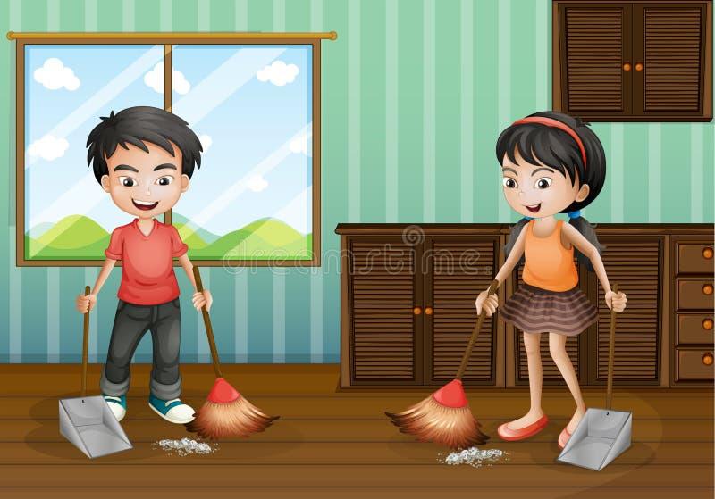 Pojke och flicka som sopar golvet vektor illustrationer