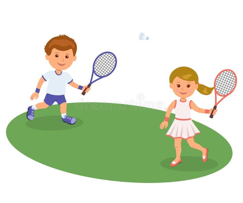Pojke och flicka som spelar på gräsmattabadmintonen Isolerade lyckliga ungar för vektorillustration som spelar badminton Sportliv stock illustrationer