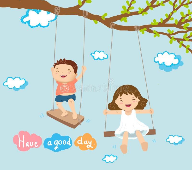Pojke och flicka som spelar på gunga stock illustrationer