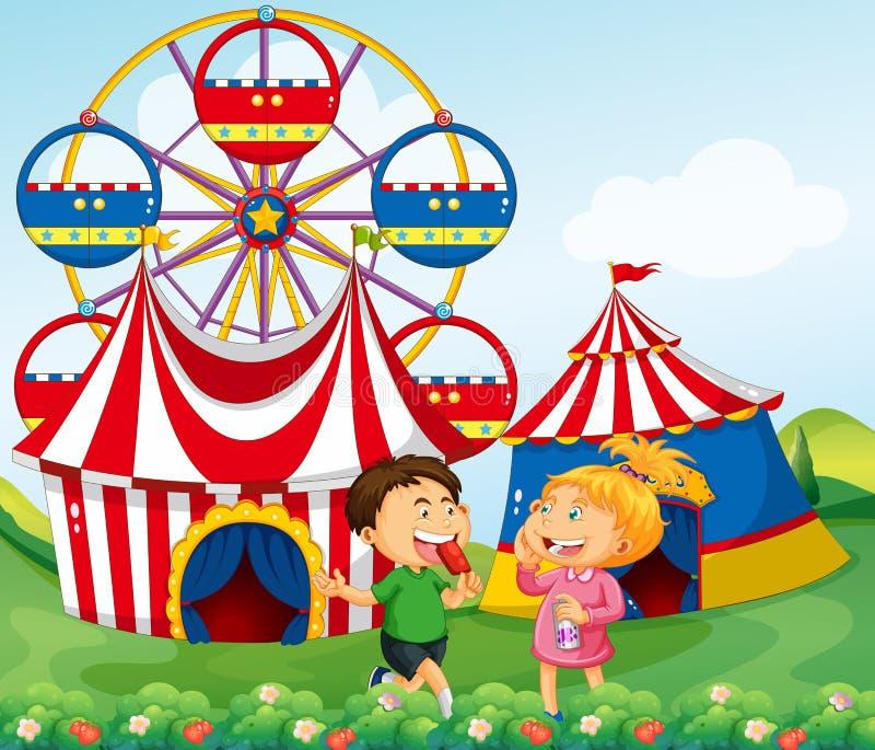 Pojke och flicka som tycker om cirkusen royaltyfri illustrationer