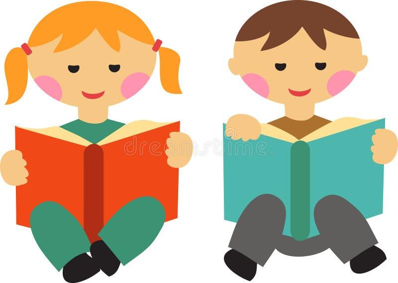 Pojke- och flickaavläsningsböcker royaltyfri illustrationer