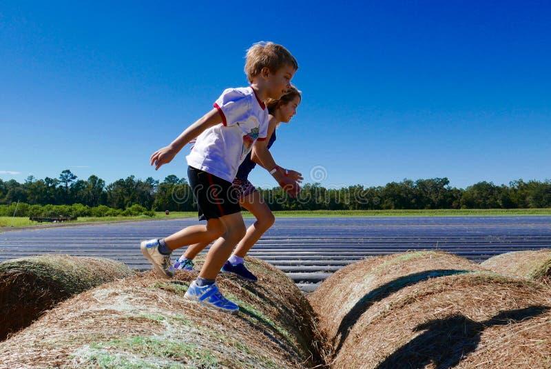 Pojke och flickahoppa och spring på höstackar fotografering för bildbyråer