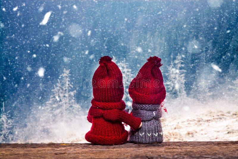 pojke- och flickajuldockor, i att hålla ögonen på för vinterunderland som är snöig royaltyfri bild
