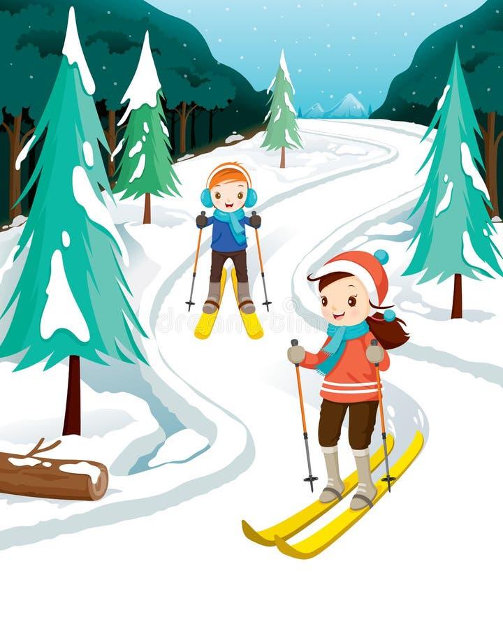 Pojke- och flickaskidåkning vektor illustrationer