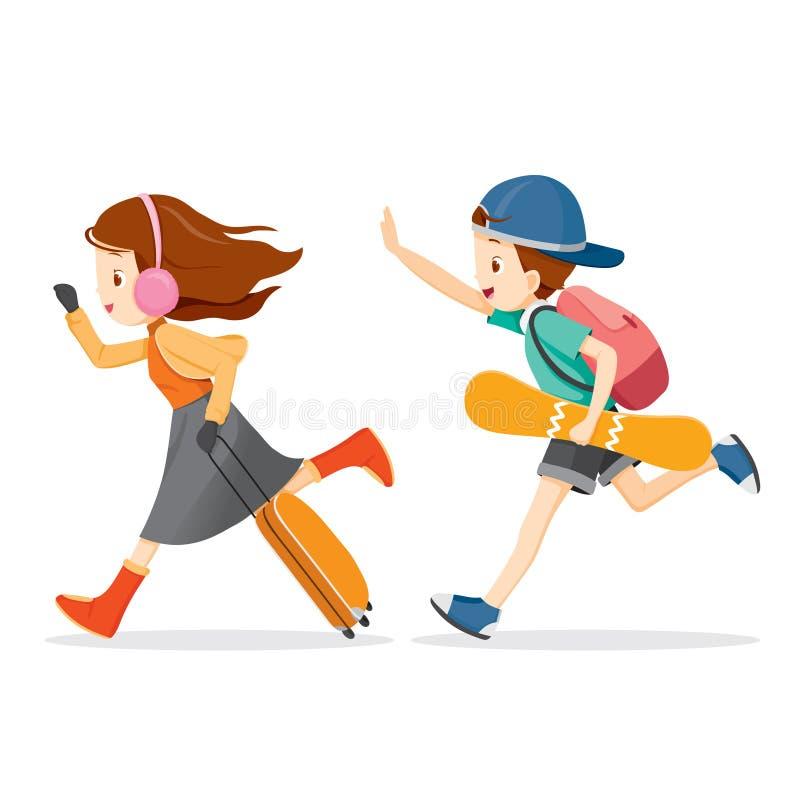 Pojke- och flickaspring som reser vektor illustrationer