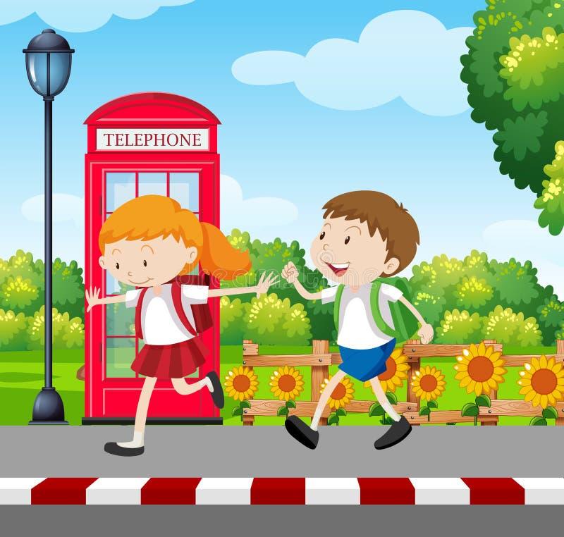 Pojke- och flickastudent i likformig vektor illustrationer