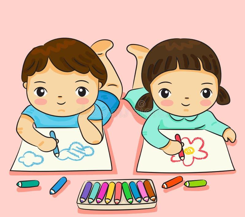 Pojke- och flickateckning med färgrikt på pappers- vektorillustration stock illustrationer