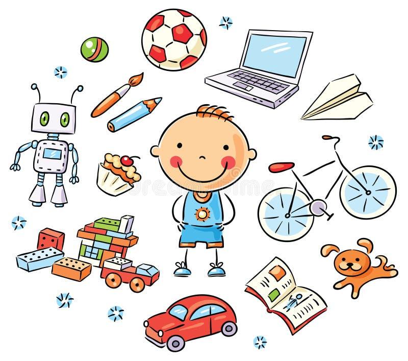 Pojke och hans intressen vektor illustrationer