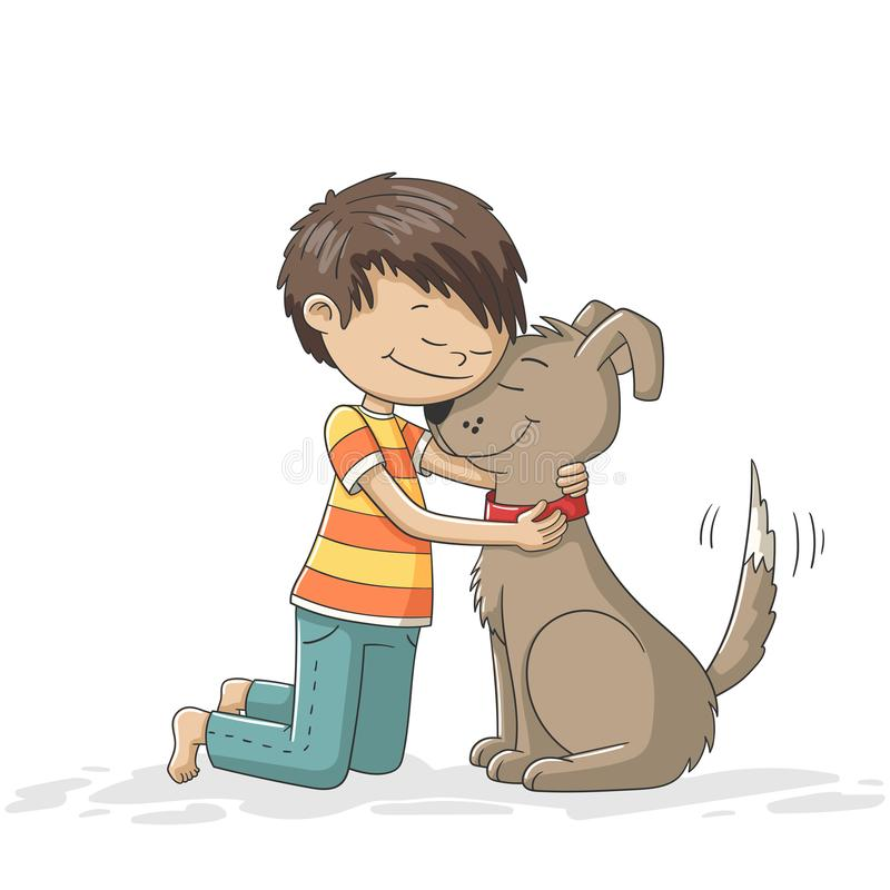 pojke och hund royaltyfri illustrationer