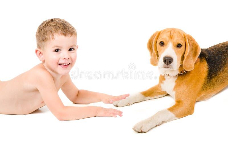 Pojke och hund tillsammans fotografering för bildbyråer