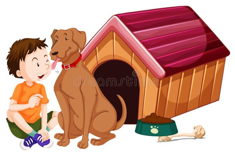 Pojke och hund vid doghouse stock illustrationer