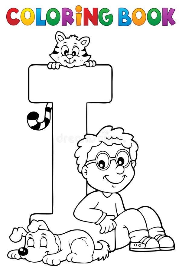 Pojke och husdjur genom brev I för färgläggningbok vektor illustrationer
