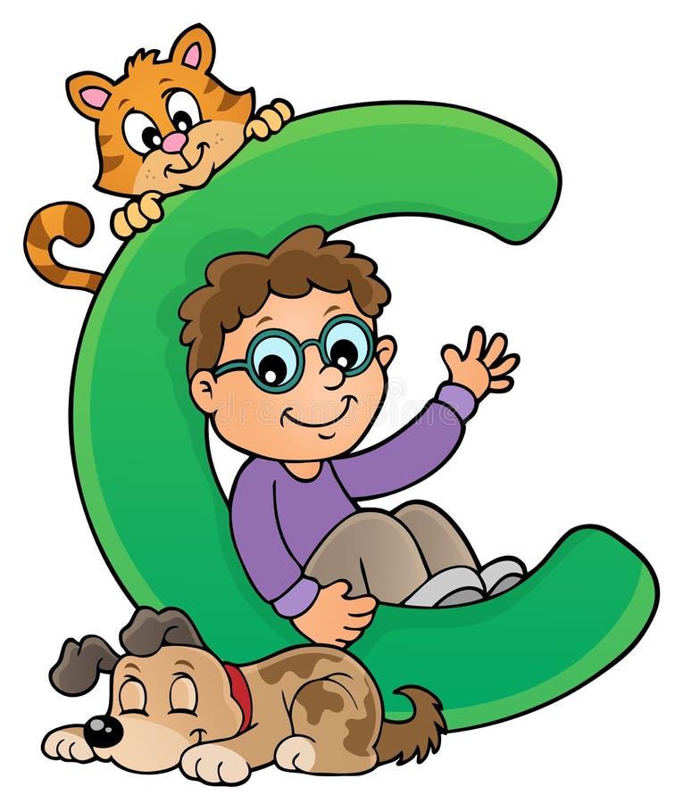 Pojke och husdjur med bokstav C stock illustrationer