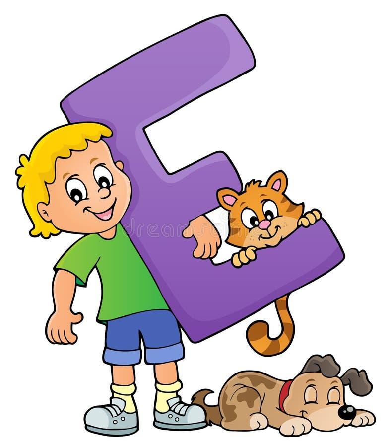 Pojke och husdjur med bokstav E vektor illustrationer