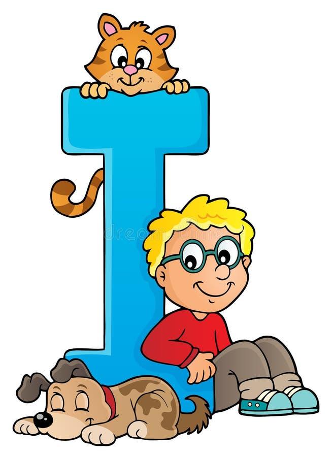 Pojke och husdjur med bokstav I stock illustrationer