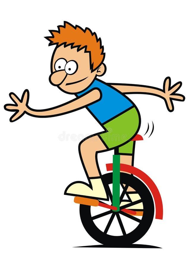 Pojke och monocycle stock illustrationer