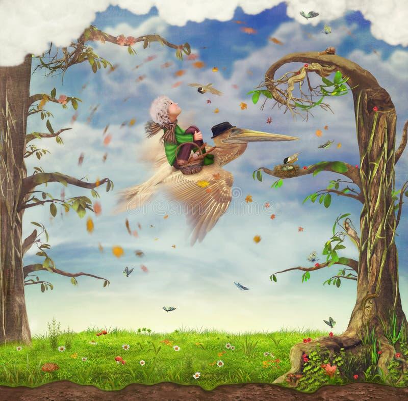 Pojke och Pelican.Fly. royaltyfri illustrationer
