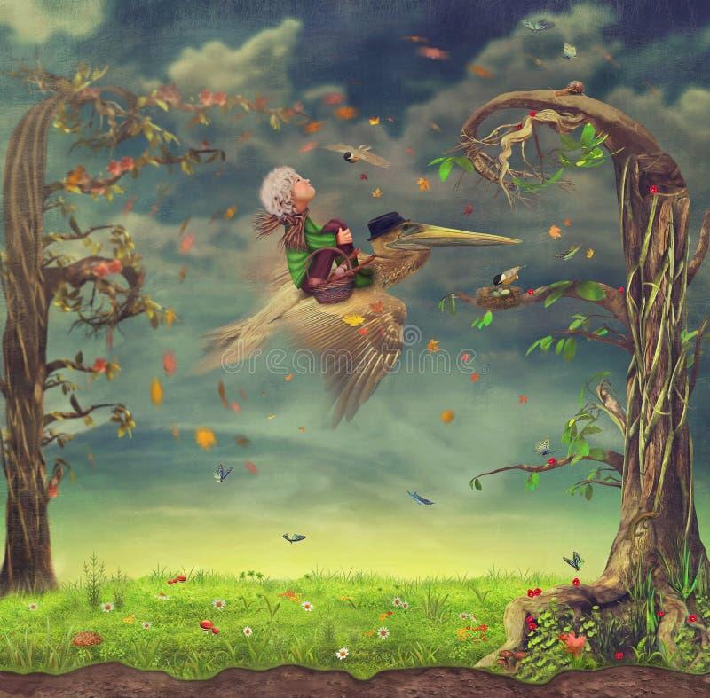 Pojke och Pelican.Fly. stock illustrationer