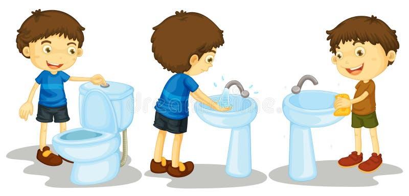 Pojke och toalett stock illustrationer