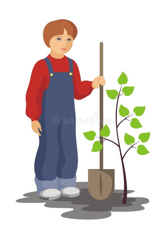 Pojke och tree stock illustrationer