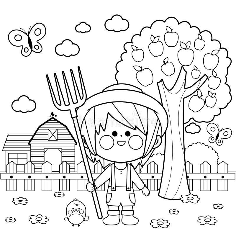 Pojke på lantgården Sida för färgläggningbok vektor illustrationer