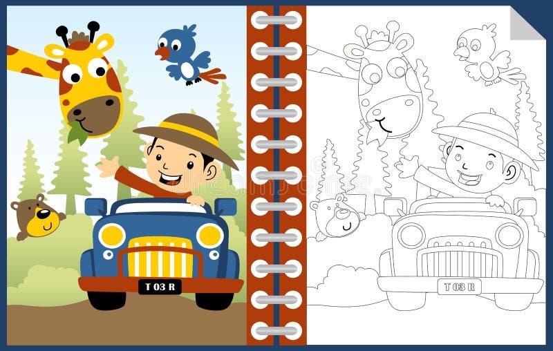 Pojke på medeltecknad film med roliga djur, färgläggningboken eller sidan royaltyfri illustrationer