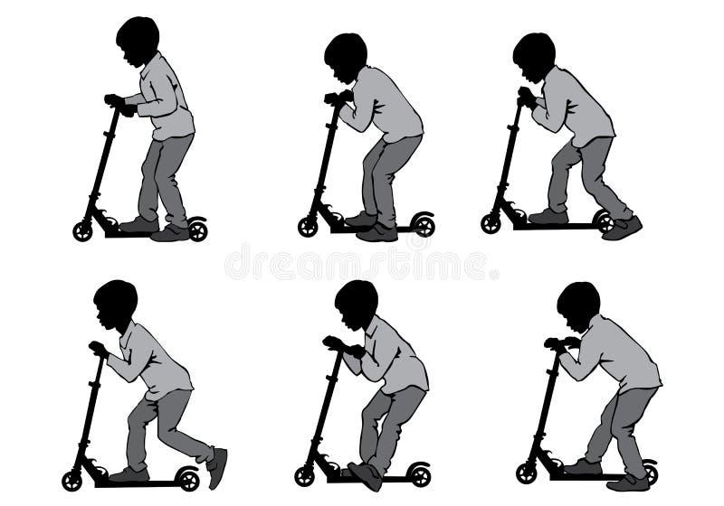 Pojke på sparkcykeln stock illustrationer