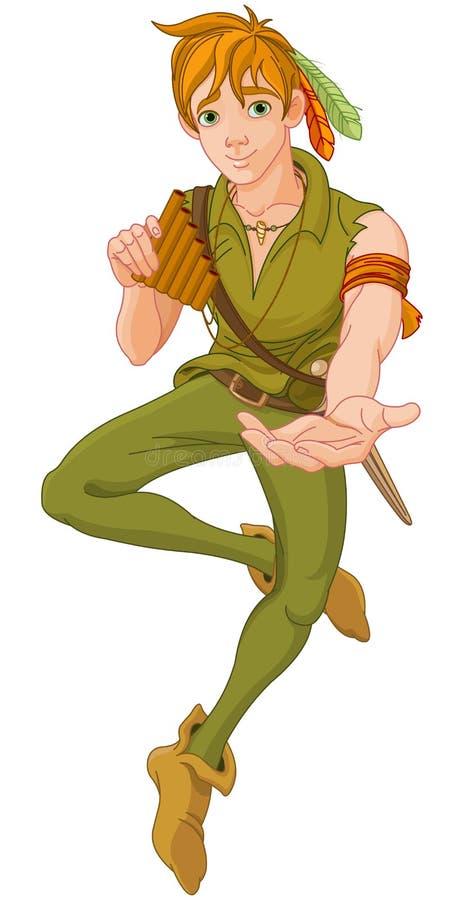 Pojke som bär Peter Pan Costume vektor illustrationer
