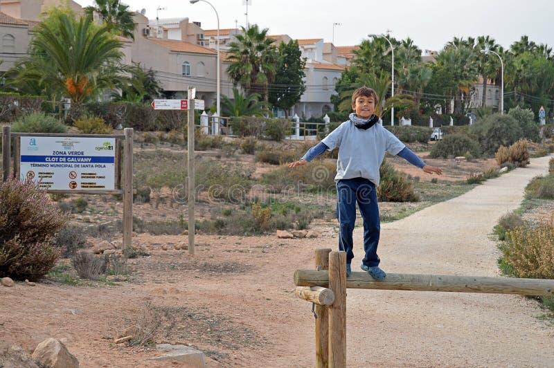 Pojke som balanserar på en journal royaltyfri fotografi