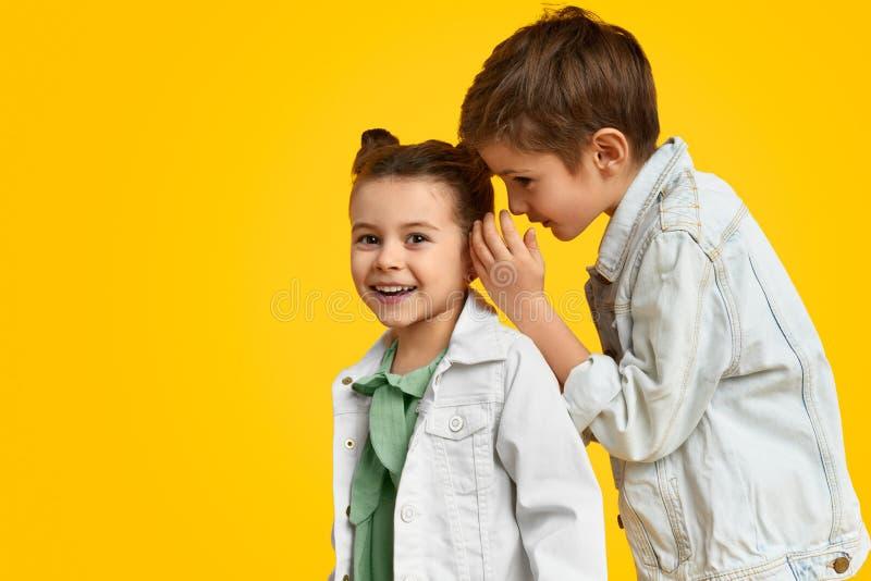 Pojke som berättar hemligheter till flickan arkivbild
