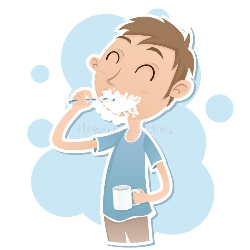 pojke som borstar hans tänder vektor illustrationer