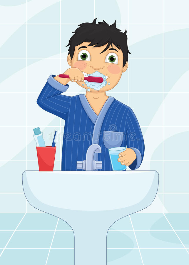 Pojke som borstar tandvektorillustrationen stock illustrationer