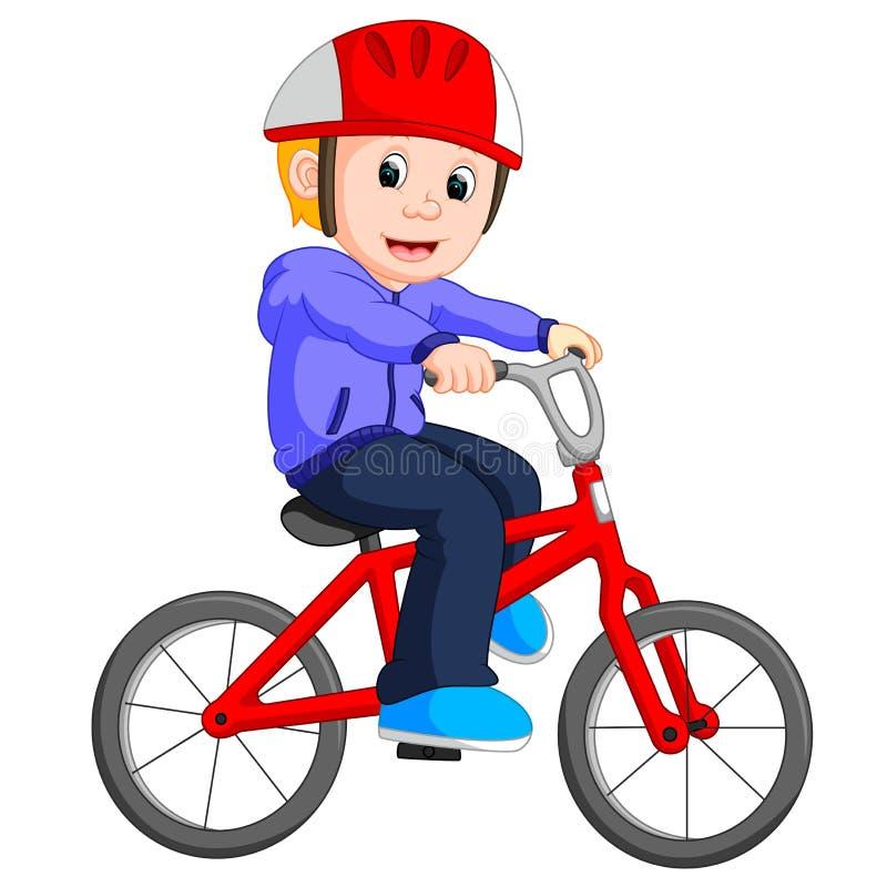 Pojke som cyklar tecknade filmen stock illustrationer