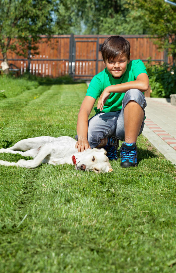 Pojke som daltar hans unga labrador retriever hund arkivfoto