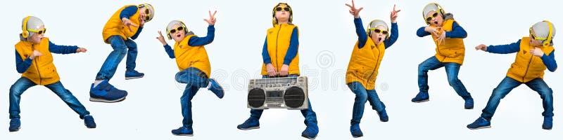 Pojke som dansar Hip Hop Mode för barn` s Den unga rapparen Kyla rap dj En collage av foto royaltyfria foton