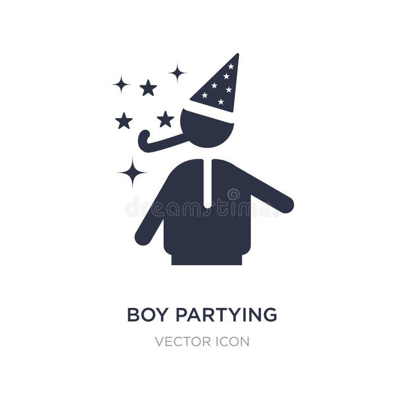 pojke som festar symbolen på vit bakgrund Enkel beståndsdelillustration från partibegrepp stock illustrationer
