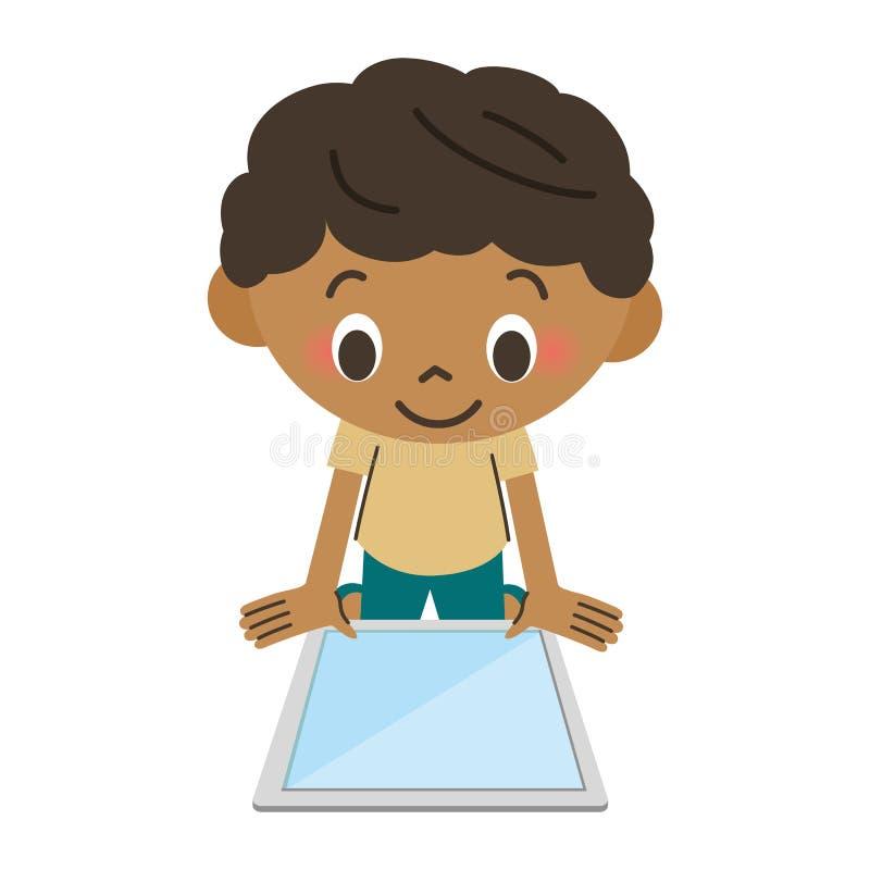 Pojke som fungerar en minnestavla stock illustrationer