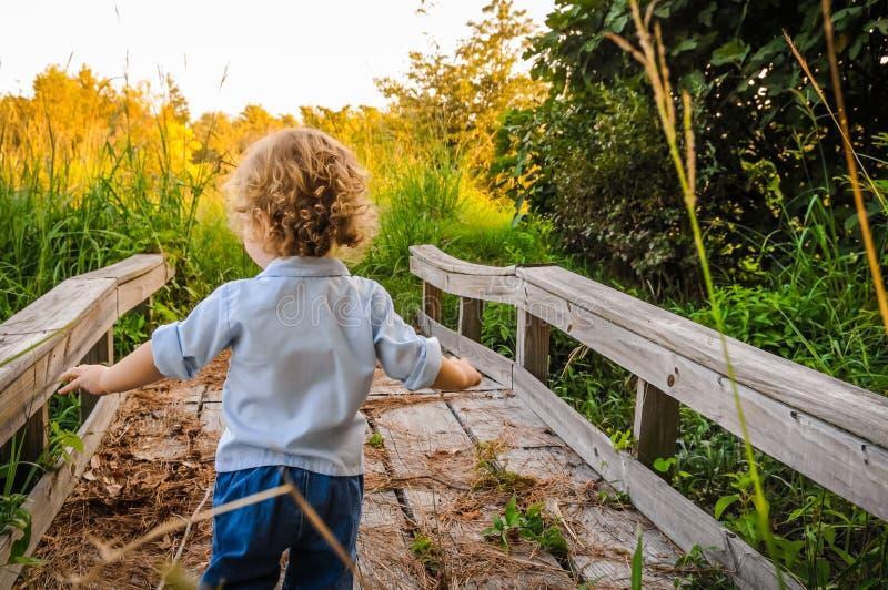 Pojke som går på en bro arkivbilder