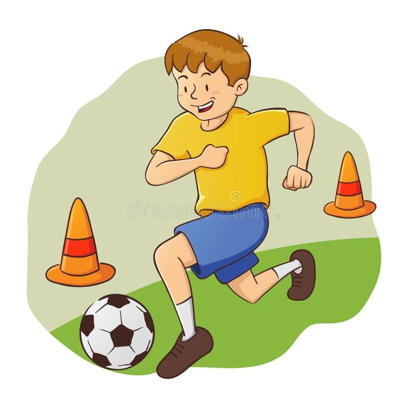 Pojke som gör fotbollövning vektor illustrationer