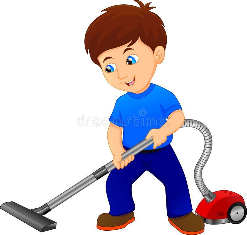 Pojke som gör ren golvet med dammsugare stock illustrationer