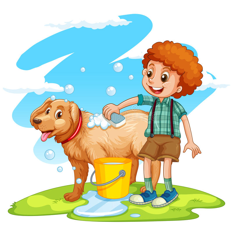 Pojke som ger hund ett bad royaltyfri illustrationer